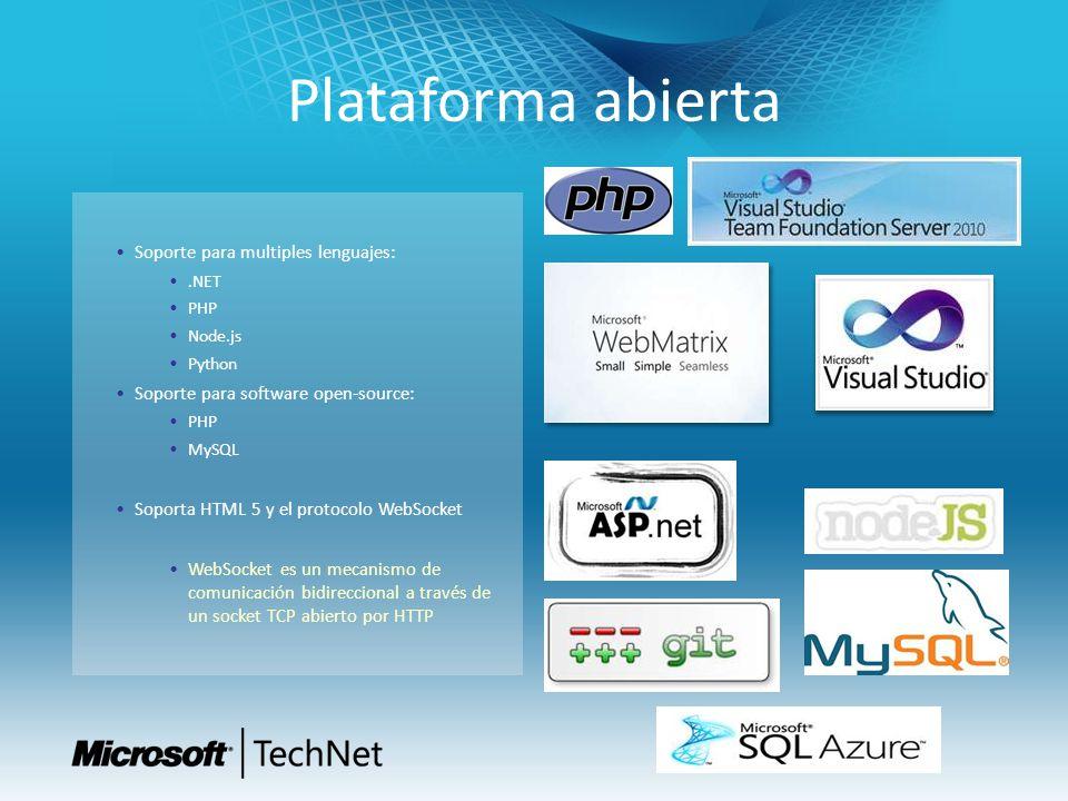 Plataforma abierta Soporte para multiples lenguajes:.NET PHP Node.js Python Soporte para software open-source: PHP MySQL Soporta HTML 5 y el protocolo WebSocket WebSocket es un mecanismo de comunicación bidireccional a través de un socket TCP abierto por HTTP
