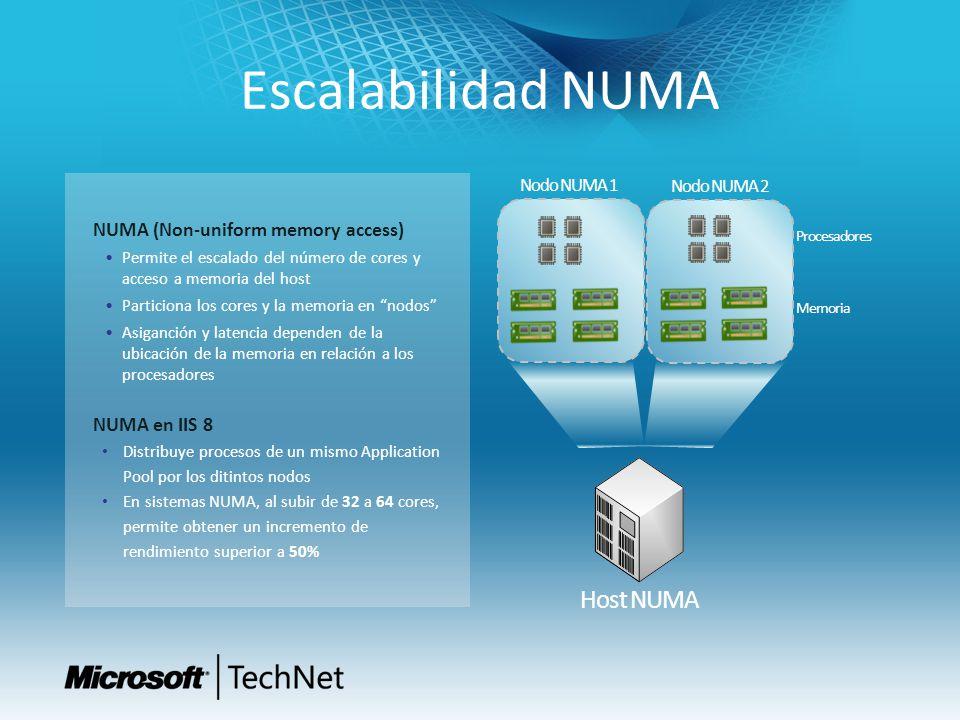 Escalabilidad NUMA Host NUMA Memoria Procesadores Nodo NUMA 1 Nodo NUMA 2 NUMA (Non-uniform memory access) Permite el escalado del número de cores y acceso a memoria del host Particiona los cores y la memoria en nodos Asiganción y latencia dependen de la ubicación de la memoria en relación a los procesadores NUMA en IIS 8 Distribuye procesos de un mismo Application Pool por los ditintos nodos En sistemas NUMA, al subir de 32 a 64 cores, permite obtener un incremento de rendimiento superior a 50%
