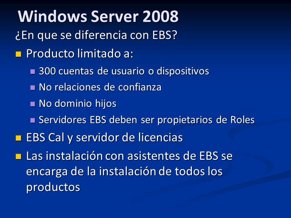 Windows Server 2008 ¿En que se diferencia con EBS.