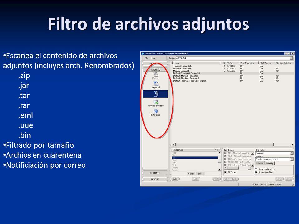 Filtro de archivos adjuntos Escanea el contenido de archivos adjuntos (incluyes arch.