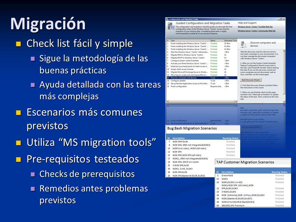 Migración Check list fácil y simple Check list fácil y simple Sigue la metodología de las buenas prácticas Sigue la metodología de las buenas prácticas Ayuda detallada con las tareas más complejas Ayuda detallada con las tareas más complejas Escenarios más comunes previstos Escenarios más comunes previstos Utiliza MS migration tools Utiliza MS migration tools Pre-requisitos testeados Pre-requisitos testeados Checks de prerequisitos Checks de prerequisitos Remedios antes problemas previstos Remedios antes problemas previstos