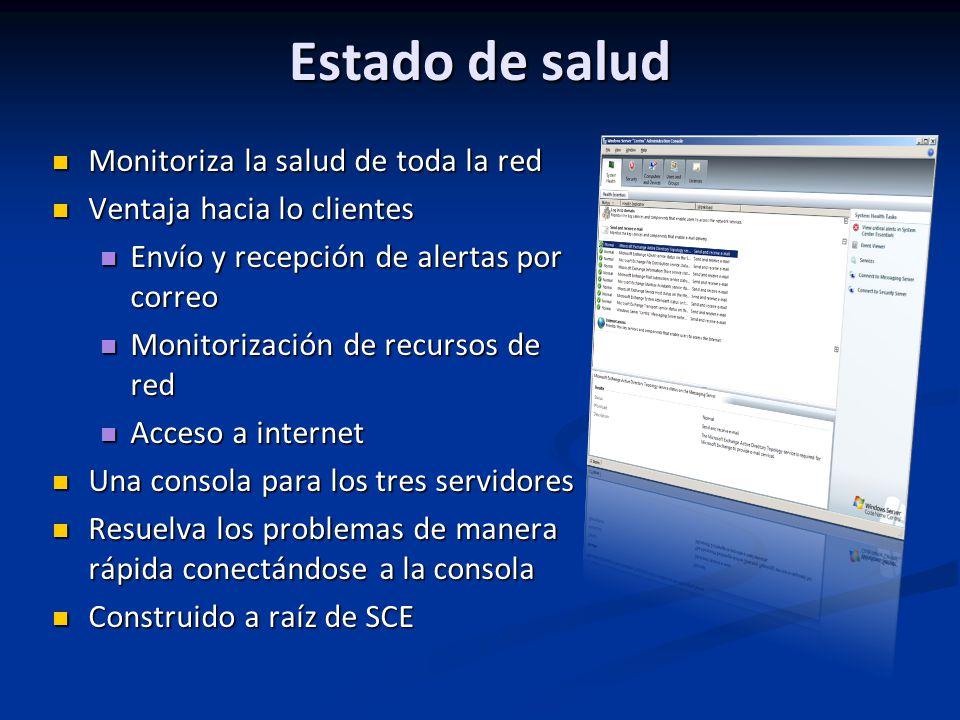 Estado de salud Monitoriza la salud de toda la red Monitoriza la salud de toda la red Ventaja hacia lo clientes Ventaja hacia lo clientes Envío y recepción de alertas por correo Envío y recepción de alertas por correo Monitorización de recursos de red Monitorización de recursos de red Acceso a internet Acceso a internet Una consola para los tres servidores Una consola para los tres servidores Resuelva los problemas de manera rápida conectándose a la consola Resuelva los problemas de manera rápida conectándose a la consola Construido a raíz de SCE Construido a raíz de SCE