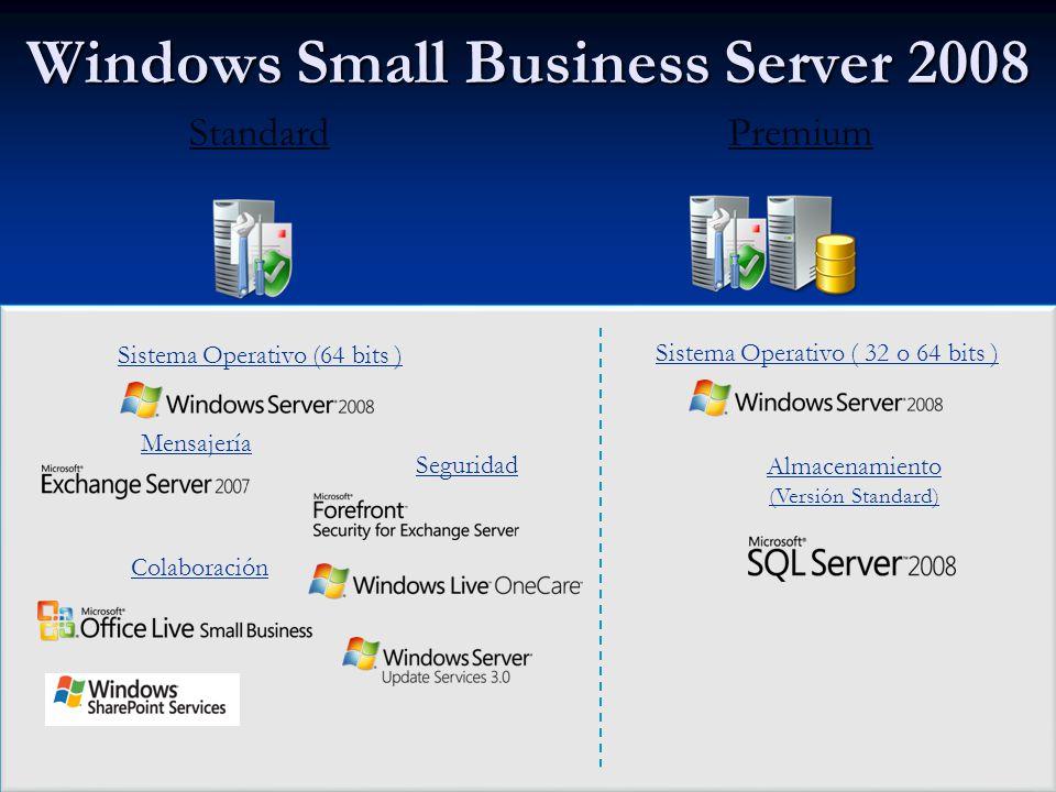 Windows Small Business Server 2008 StandardPremium Sistema Operativo (64 bits ) Mensajería Seguridad Colaboración Sistema Operativo ( 32 o 64 bits ) Almacenamiento (Versión Standard)