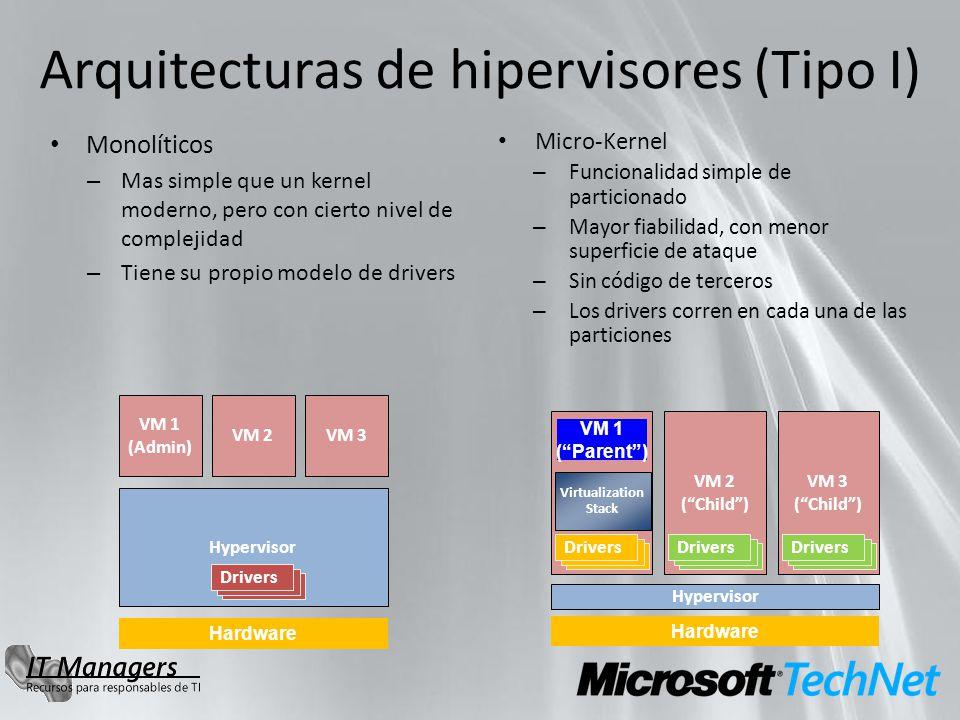 Arquitecturas de hipervisores (Tipo I) Monolíticos – Mas simple que un kernel moderno, pero con cierto nivel de complejidad – Tiene su propio modelo d
