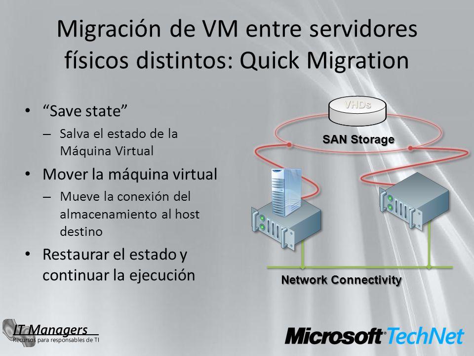 Migración de VM entre servidores físicos distintos: Quick Migration Save state – Salva el estado de la Máquina Virtual Mover la máquina virtual – Muev