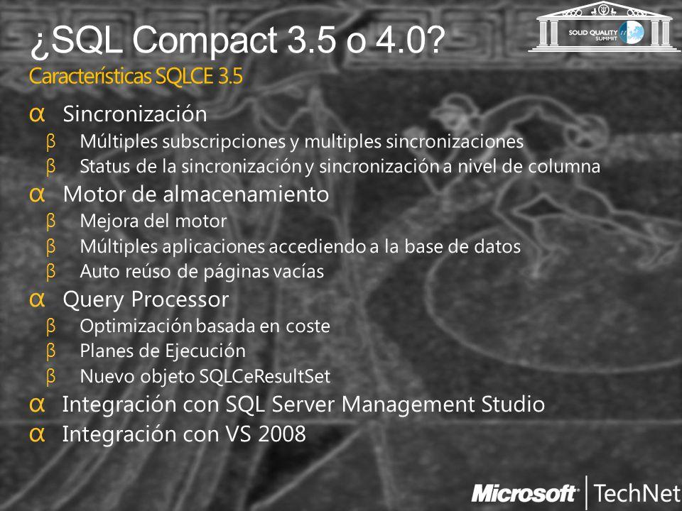 ¿SQL Compact 3.5 o 4.0? Características SQLCE 3.5