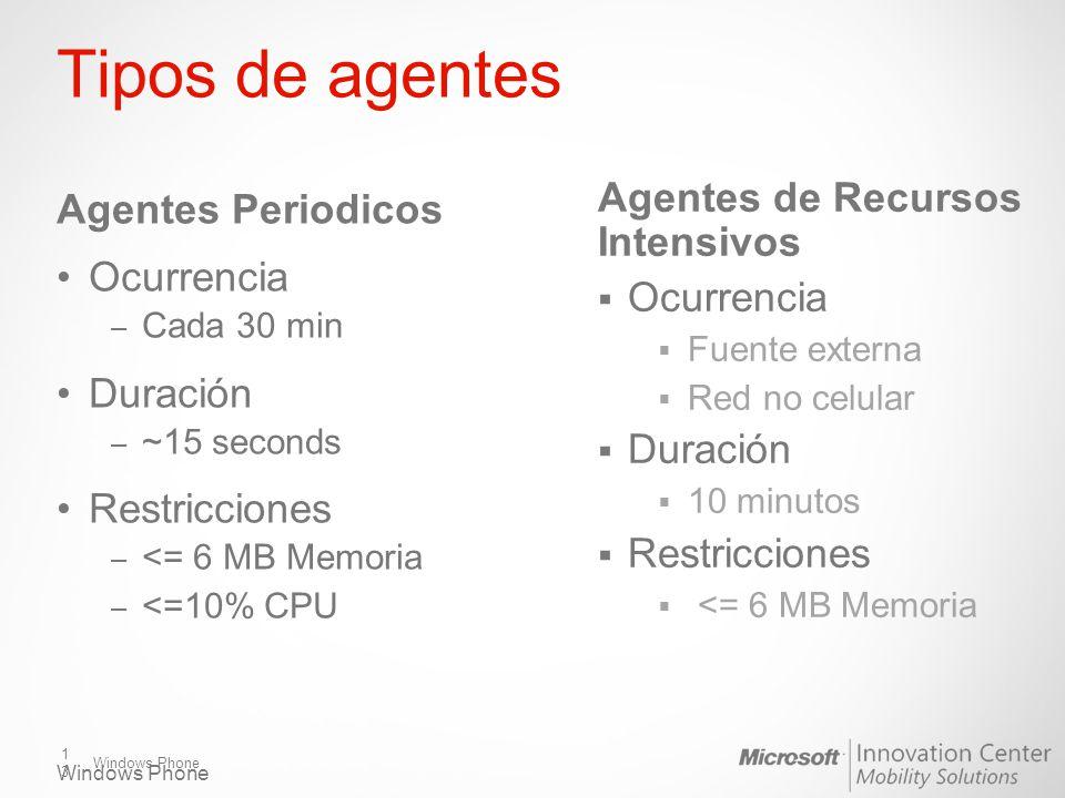 Windows Phone Tipos de agentes Agentes Periodicos Ocurrencia – Cada 30 min Duración – ~15 seconds Restricciones – <= 6 MB Memoria – <=10% CPU Agentes