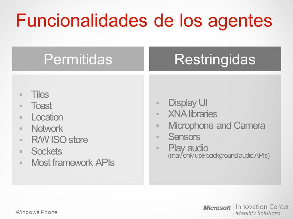 Funcionalidades de los agentes Permitidas Tiles Toast Location Network R/W ISO store Sockets Most framework APIs Restringidas Display UI XNA libraries