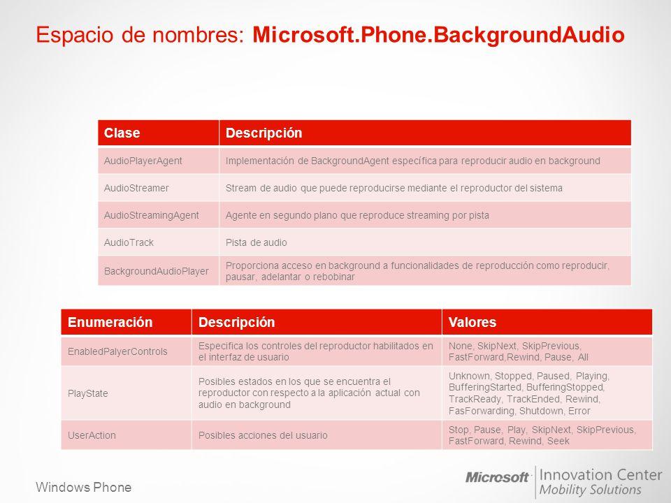 Windows Phone Espacio de nombres: Microsoft.Phone.BackgroundAudio ClaseDescripción AudioPlayerAgentImplementación de BackgroundAgent específica para r