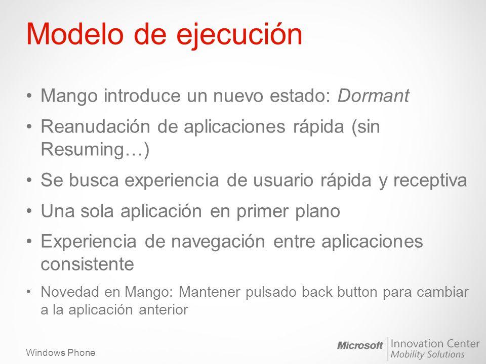 Windows Phone Modelo de ejecución Mango introduce un nuevo estado: Dormant Reanudación de aplicaciones rápida (sin Resuming…) Se busca experiencia de usuario rápida y receptiva Una sola aplicación en primer plano Experiencia de navegación entre aplicaciones consistente Novedad en Mango: Mantener pulsado back button para cambiar a la aplicación anterior