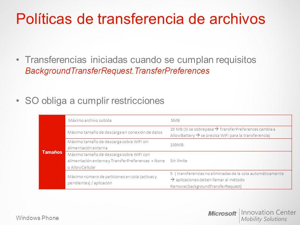 Windows Phone Políticas de transferencia de archivos Transferencias iniciadas cuando se cumplan requisitos BackgroundTransferRequest.TransferPreferenc