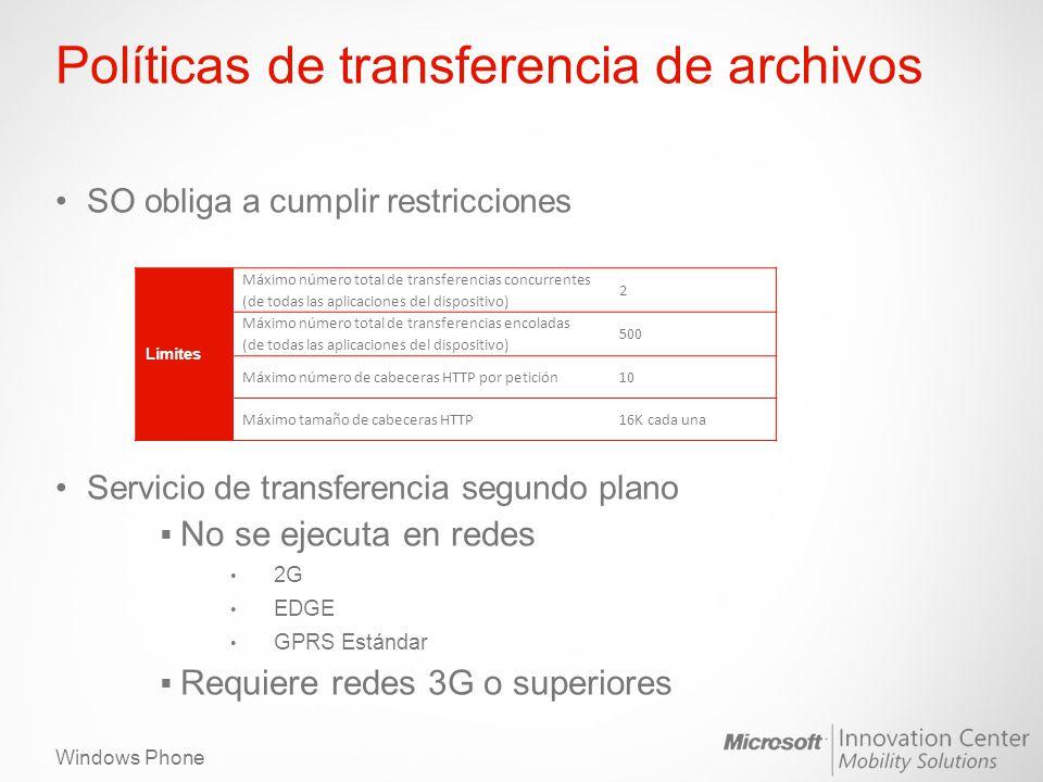 Windows Phone Políticas de transferencia de archivos SO obliga a cumplir restricciones Servicio de transferencia segundo plano No se ejecuta en redes