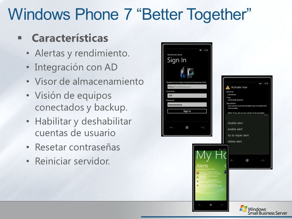 Windows Phone 7 Better Together Características Alertas y rendimiento.