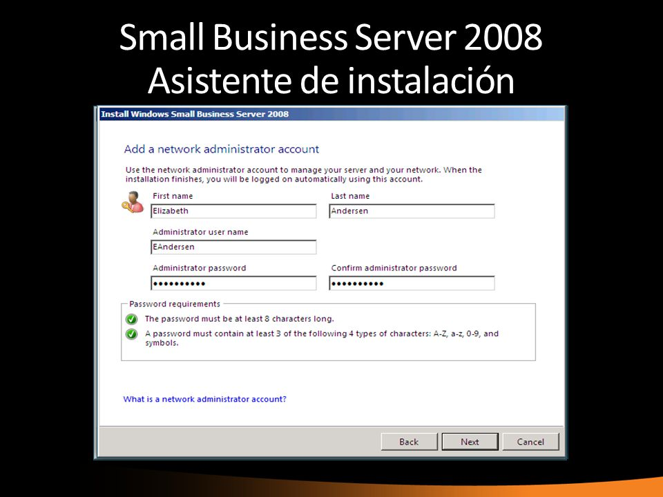 Small Business Server 2008 Asistente de instalación