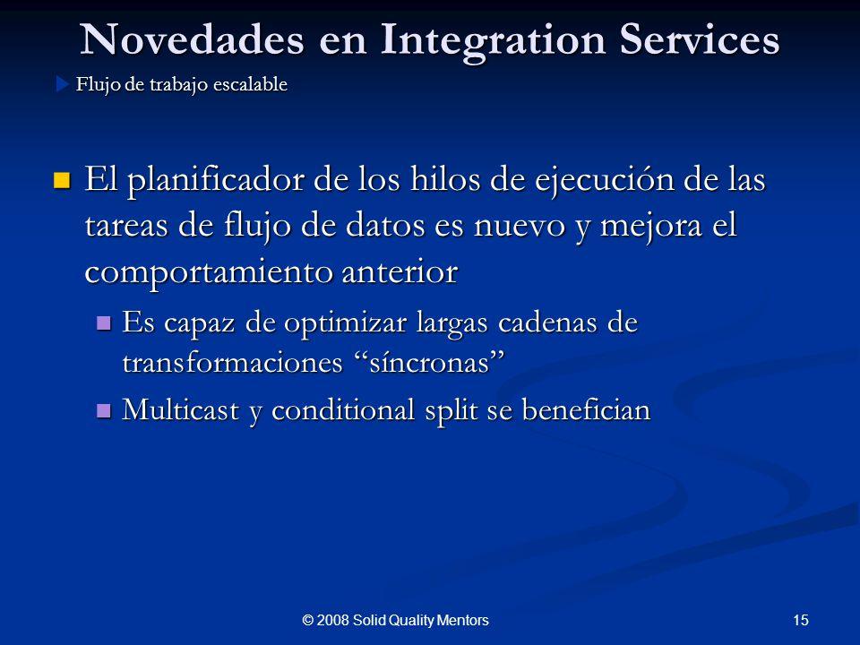Novedades en Integration Services El planificador de los hilos de ejecución de las tareas de flujo de datos es nuevo y mejora el comportamiento anteri