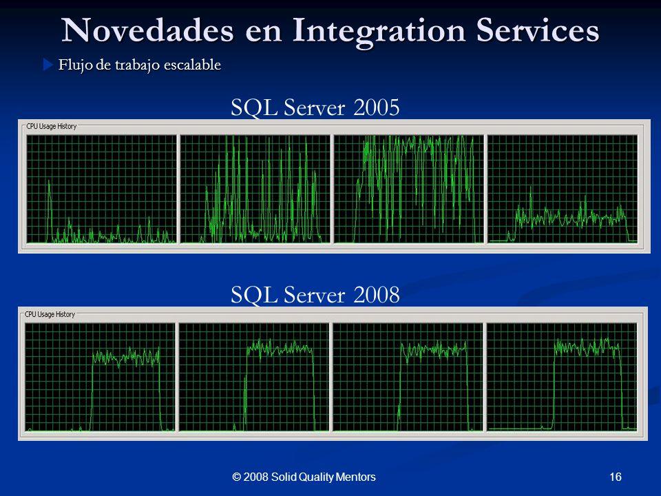 Novedades en Integration Services Flujo de trabajo escalable 16© 2008 Solid Quality Mentors SQL Server 2005 SQL Server 2008