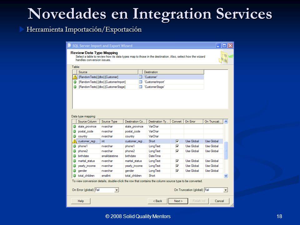 Novedades en Integration Services Herramienta Importación/Exportación 18© 2008 Solid Quality Mentors