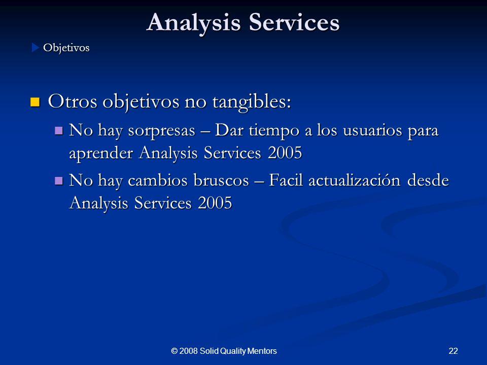 Analysis Services Otros objetivos no tangibles: Otros objetivos no tangibles: No hay sorpresas – Dar tiempo a los usuarios para aprender Analysis Serv