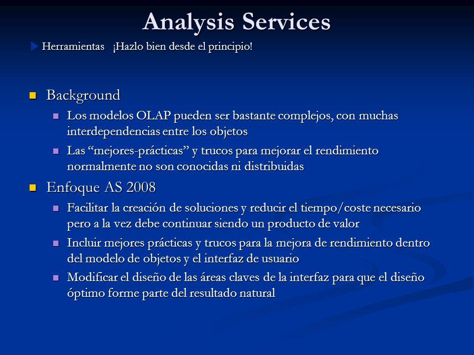 Analysis Services Background Background Los modelos OLAP pueden ser bastante complejos, con muchas interdependencias entre los objetos Los modelos OLA