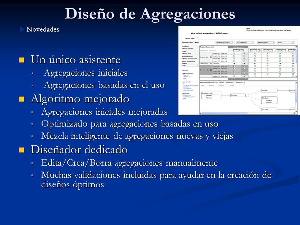 Diseño de Agregaciones Un único asistente Un único asistente Agregaciones iniciales Agregaciones iniciales Agregaciones basadas en el uso Agregaciones