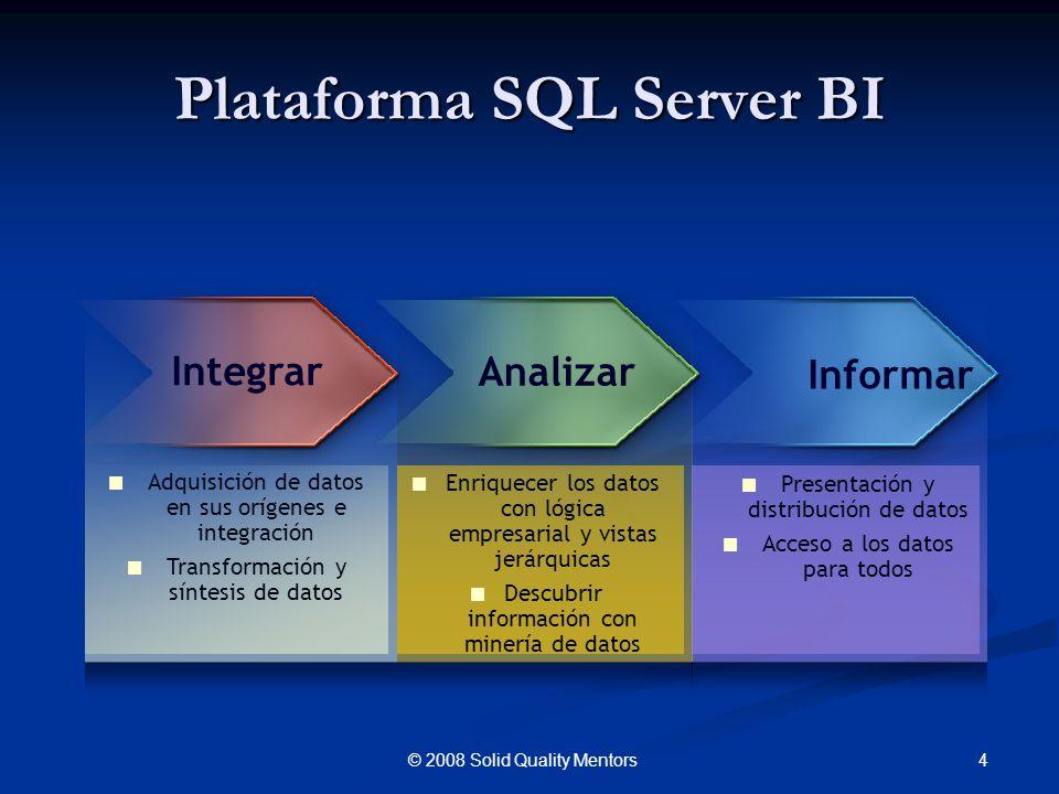 Plataforma SQL Server BI 4© 2008 Solid Quality Mentors Adquisición de datos en sus orígenes e integración Transformación y síntesis de datos Enriquece