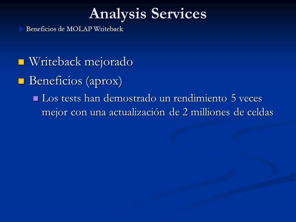 Analysis Services Writeback mejorado Writeback mejorado Beneficios (aprox) Beneficios (aprox) Los tests han demostrado un rendimiento 5 veces mejor co
