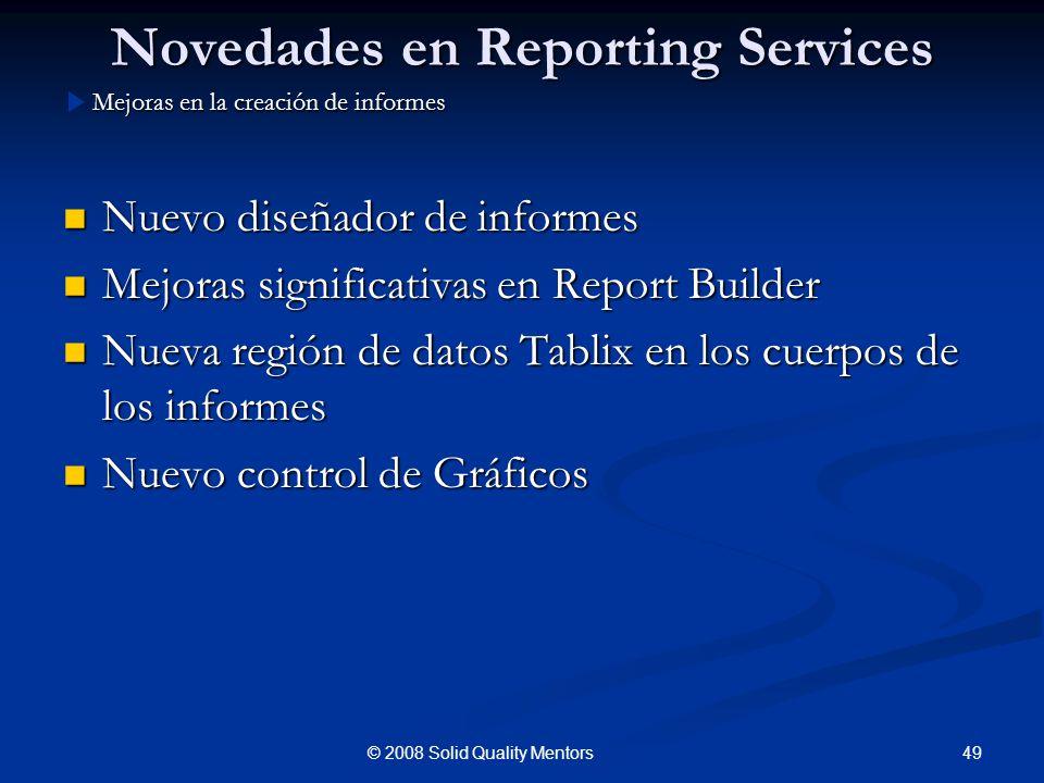 Novedades en Reporting Services Nuevo diseñador de informes Nuevo diseñador de informes Mejoras significativas en Report Builder Mejoras significativa