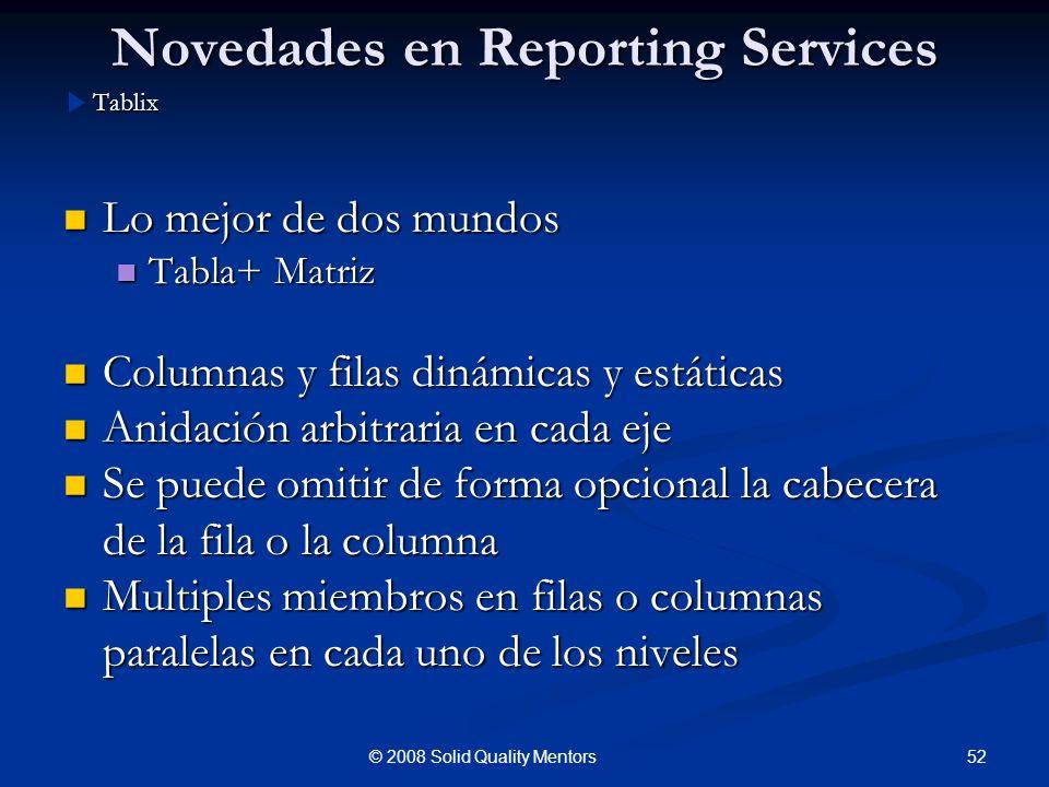 Novedades en Reporting Services Lo mejor de dos mundos Lo mejor de dos mundos Tabla+ Matriz Tabla+ Matriz Columnas y filas dinámicas y estáticas Colum