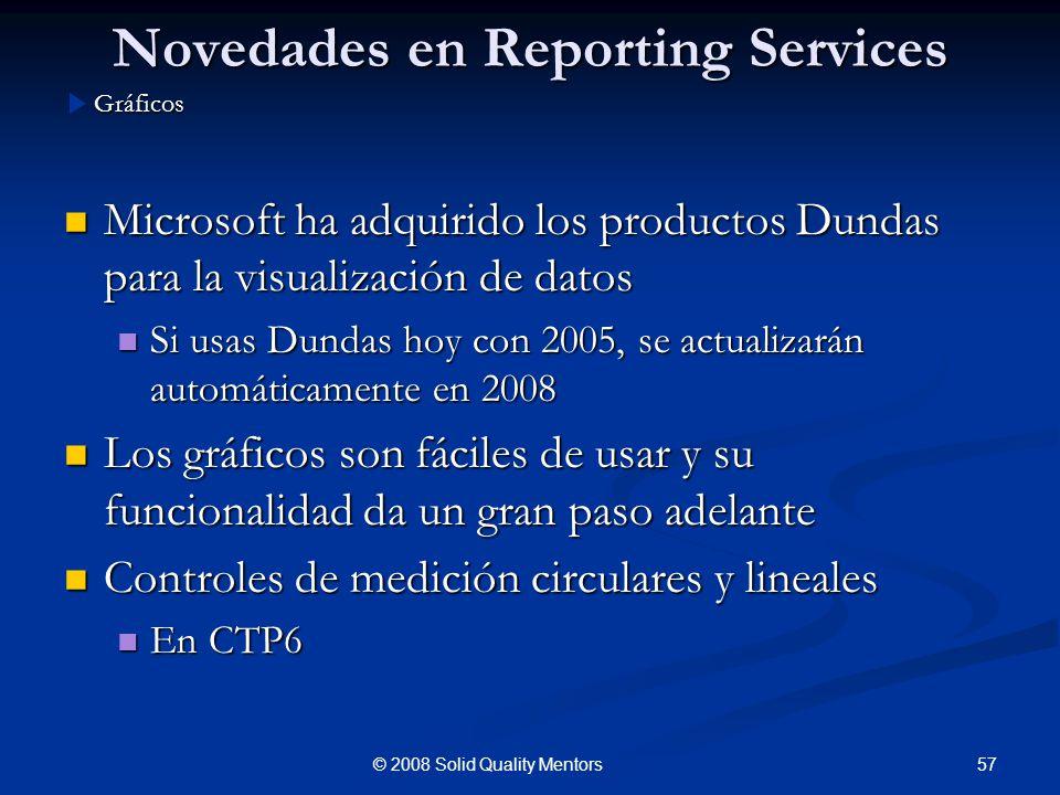Novedades en Reporting Services Microsoft ha adquirido los productos Dundas para la visualización de datos Microsoft ha adquirido los productos Dundas