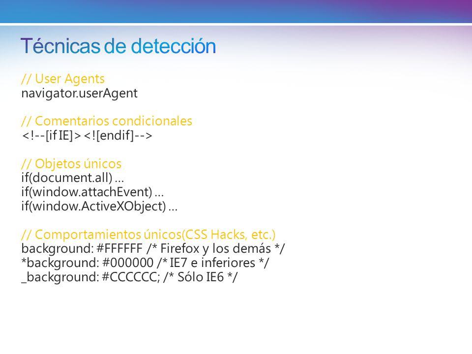// User Agents navigator.userAgent // Comentarios condicionales // Objetos únicos if(document.all) … if(window.attachEvent) … if(window.ActiveXObject) … // Comportamientos únicos(CSS Hacks, etc.) background: #FFFFFF /* Firefox y los demás */ *background: #000000 /* IE7 e inferiores */ _background: #CCCCCC; /* Sólo IE6 */