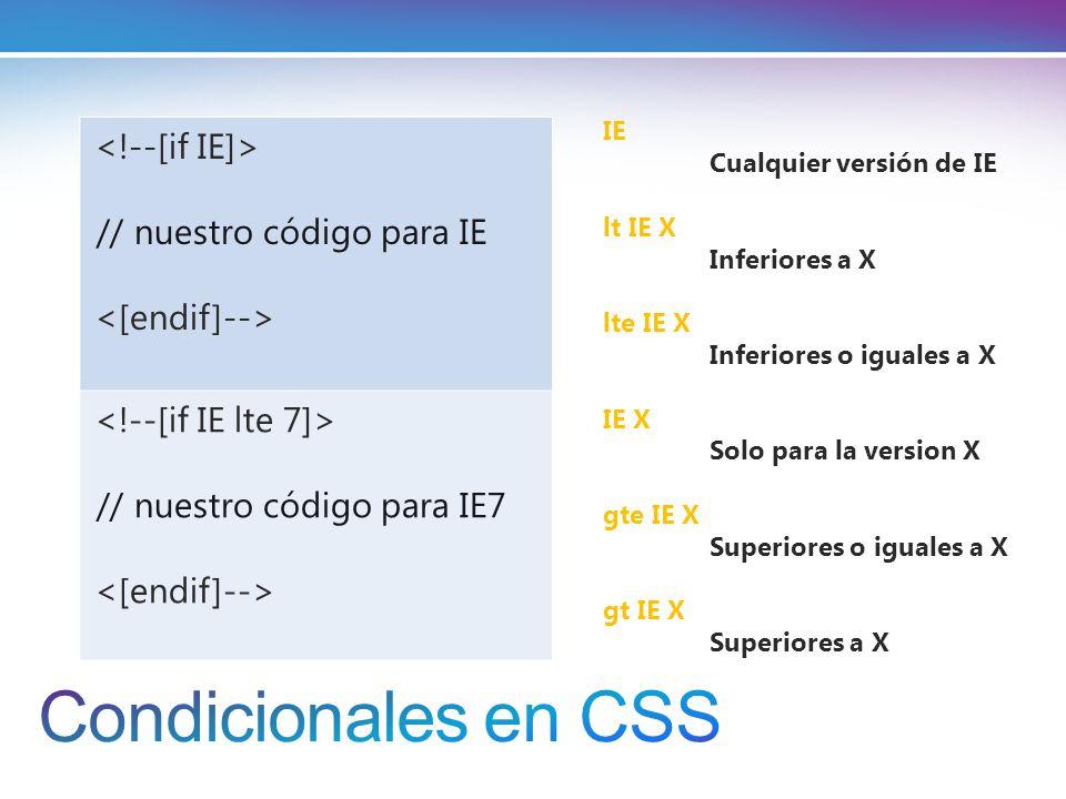 // nuestro código para IE // nuestro código para IE7 IE Cualquier versión de IE lt IE X Inferiores a X lte IE X Inferiores o iguales a X IE X Solo para la version X gte IE X Superiores o iguales a X gt IE X Superiores a X