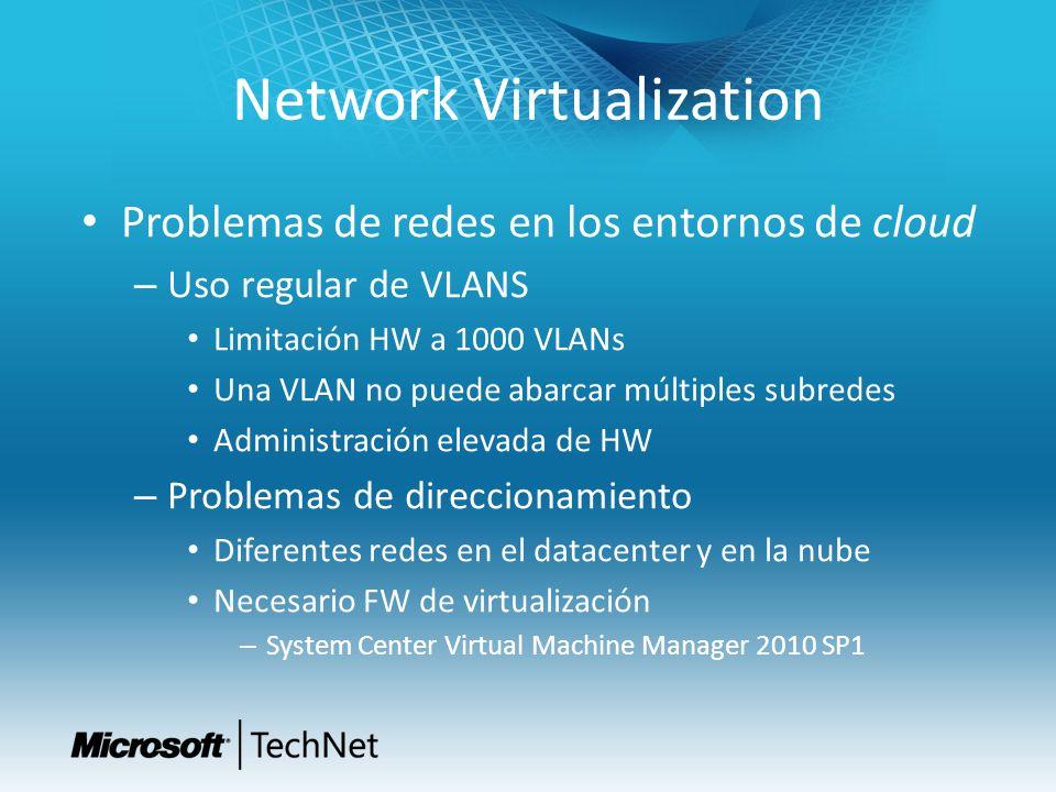 Network Virtualization Problemas de redes en los entornos de cloud – Uso regular de VLANS Limitación HW a 1000 VLANs Una VLAN no puede abarcar múltipl