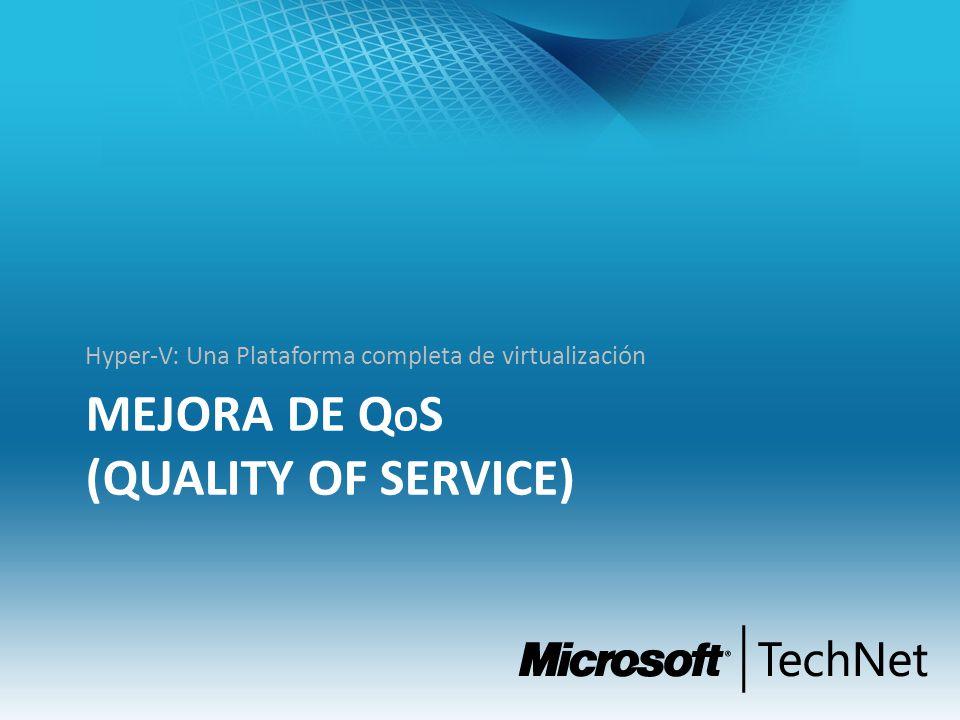 MEJORA DE Q O S (QUALITY OF SERVICE) Hyper-V: Una Plataforma completa de virtualización