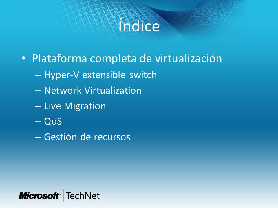 Índice Plataforma completa de virtualización – Hyper-V extensible switch – Network Virtualization – Live Migration – QoS – Gestión de recursos