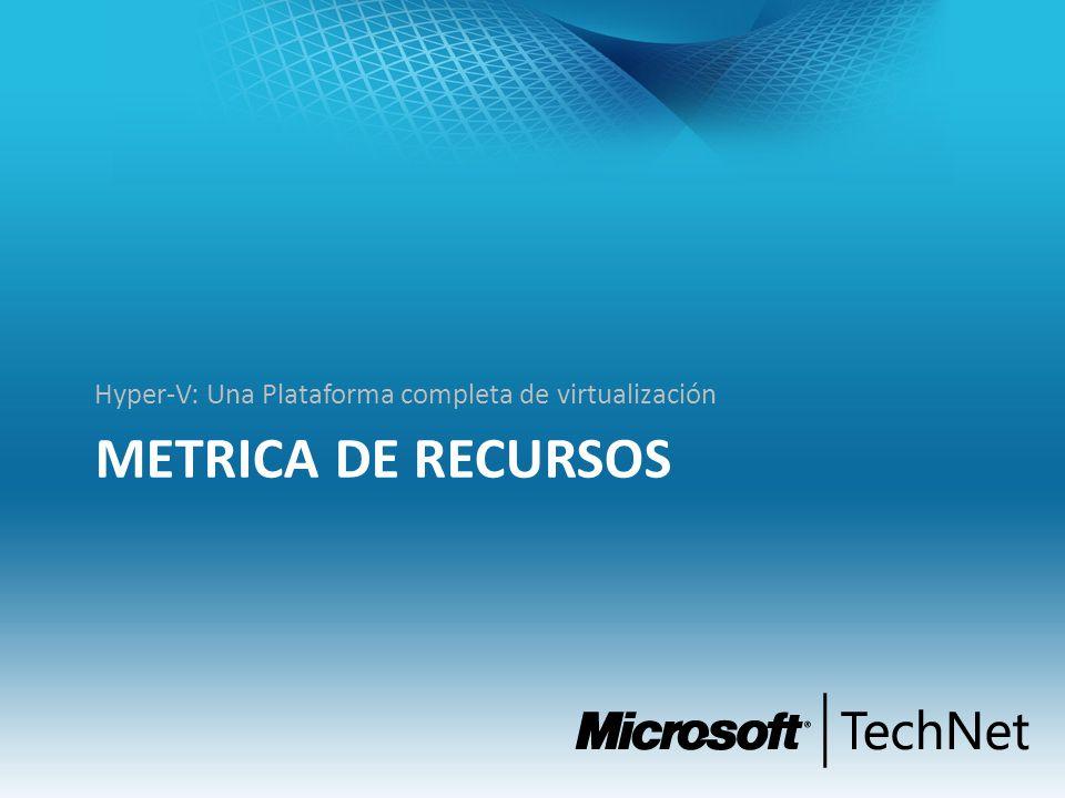 METRICA DE RECURSOS Hyper-V: Una Plataforma completa de virtualización