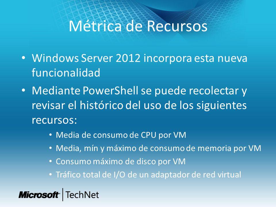 Métrica de Recursos Windows Server 2012 incorpora esta nueva funcionalidad Mediante PowerShell se puede recolectar y revisar el histórico del uso de l
