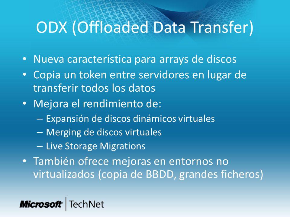 ODX (Offloaded Data Transfer) Nueva característica para arrays de discos Copia un token entre servidores en lugar de transferir todos los datos Mejora