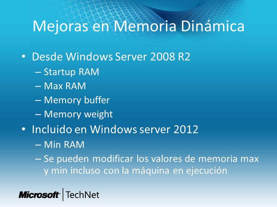 Mejoras en Memoria Dinámica Desde Windows Server 2008 R2 – Startup RAM – Max RAM – Memory buffer – Memory weight Incluido en Windows server 2012 – Min