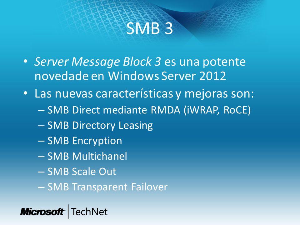 SMB 3 Server Message Block 3 es una potente novedade en Windows Server 2012 Las nuevas características y mejoras son: – SMB Direct mediante RMDA (iWRA