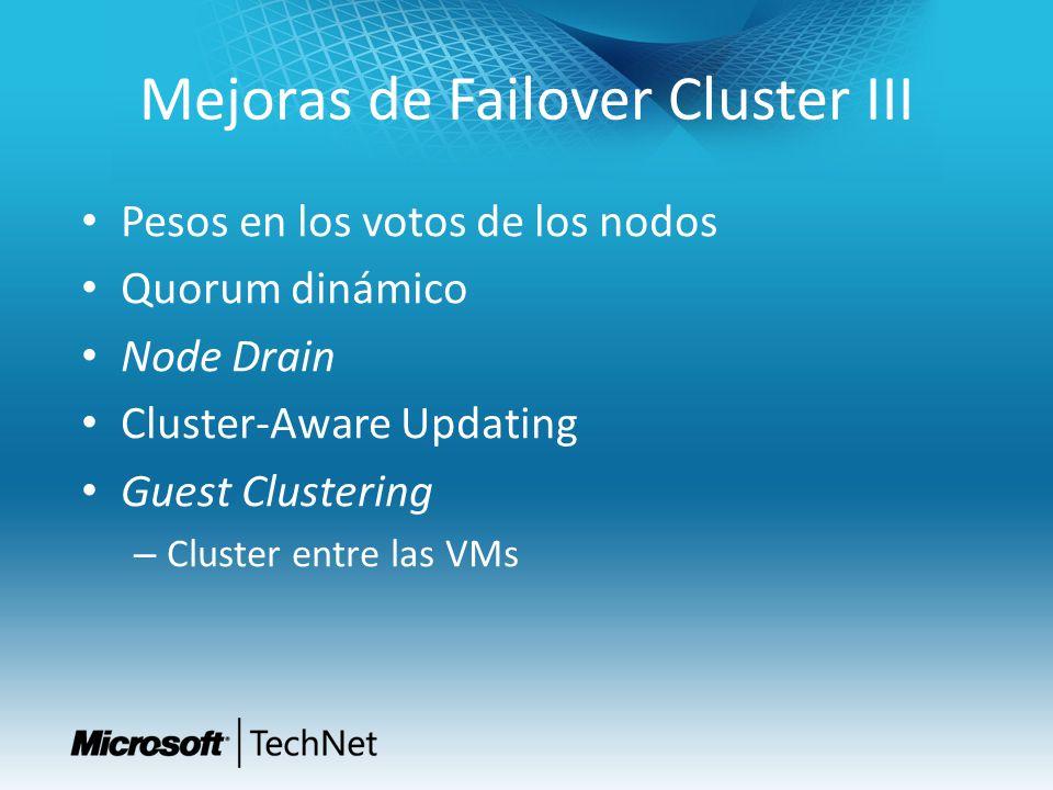 Mejoras de Failover Cluster III Pesos en los votos de los nodos Quorum dinámico Node Drain Cluster-Aware Updating Guest Clustering – Cluster entre las