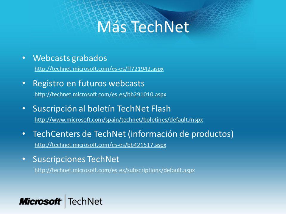 Más TechNet Webcasts grabados http://technet.microsoft.com/es-es/ff721942.aspx Registro en futuros webcasts http://technet.microsoft.com/es-es/bb29101