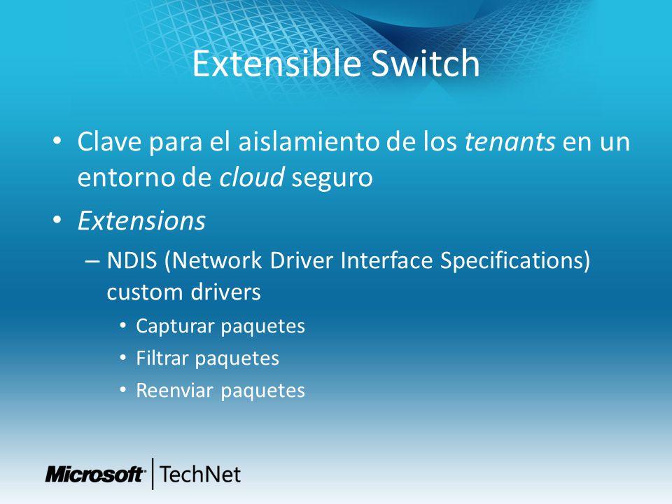 Extensible Switch Clave para el aislamiento de los tenants en un entorno de cloud seguro Extensions – NDIS (Network Driver Interface Specifications) c