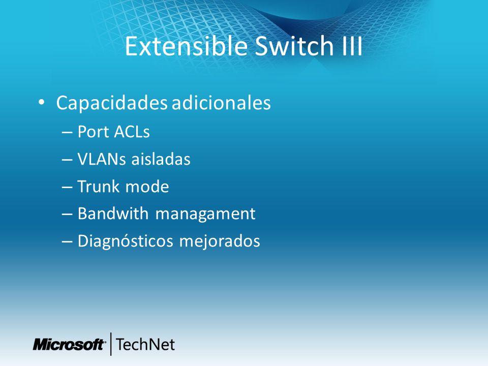 Extensible Switch III Capacidades adicionales – Port ACLs – VLANs aisladas – Trunk mode – Bandwith managament – Diagnósticos mejorados