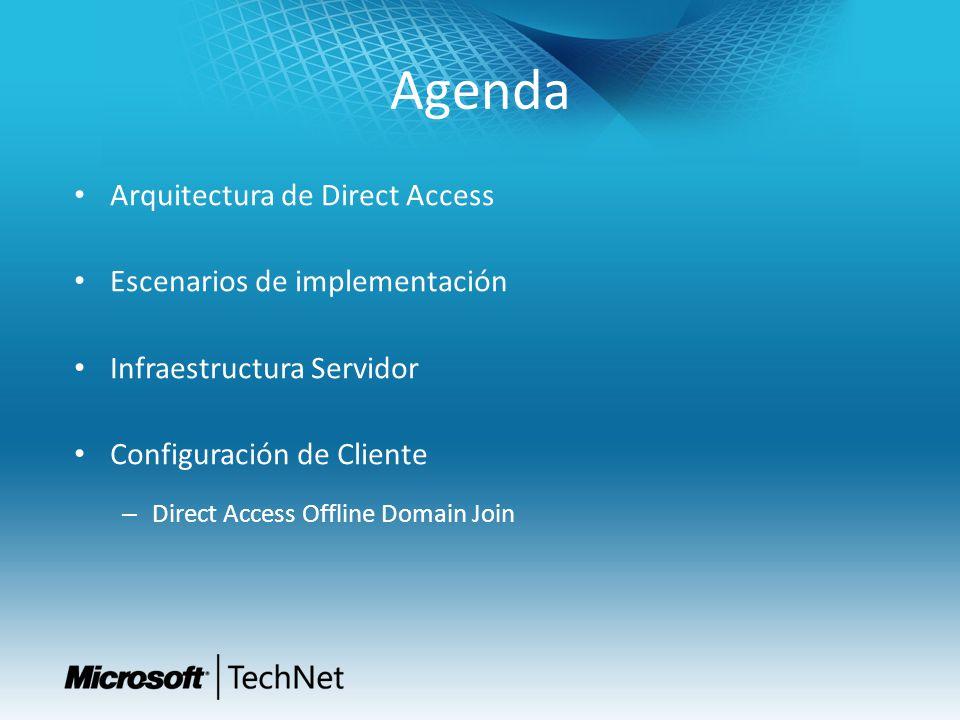 Agenda Arquitectura de Direct Access Escenarios de implementación Infraestructura Servidor Configuración de Cliente – Direct Access Offline Domain Joi