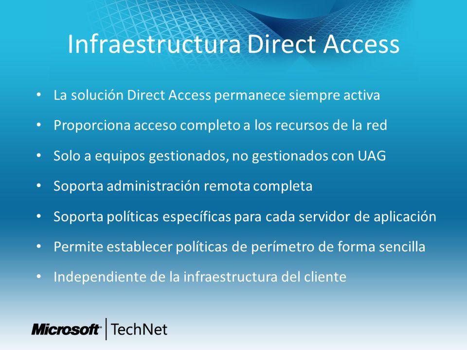 Infraestructura Direct Access La solución Direct Access permanece siempre activa Proporciona acceso completo a los recursos de la red Solo a equipos g