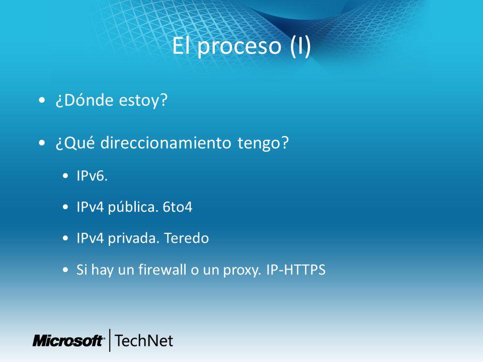 El proceso (I) ¿Dónde estoy? ¿Qué direccionamiento tengo? IPv6. IPv4 pública. 6to4 IPv4 privada. Teredo Si hay un firewall o un proxy. IP-HTTPS
