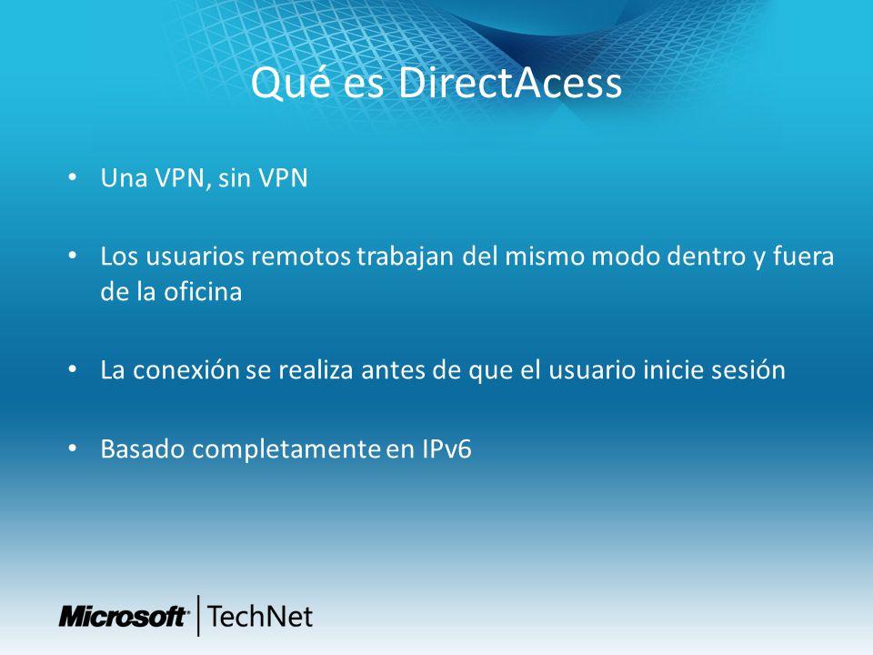 Qué es DirectAcess Una VPN, sin VPN Los usuarios remotos trabajan del mismo modo dentro y fuera de la oficina La conexión se realiza antes de que el u