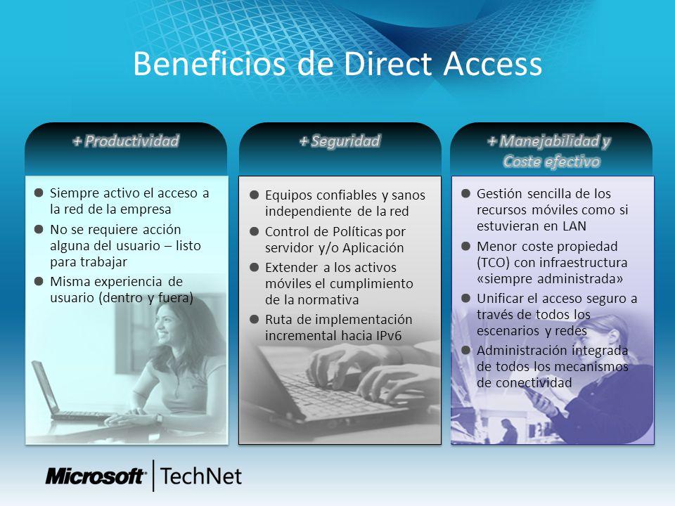 Beneficios de Direct Access Siempre activo el acceso a la red de la empresa No se requiere acción alguna del usuario – listo para trabajar Misma exper