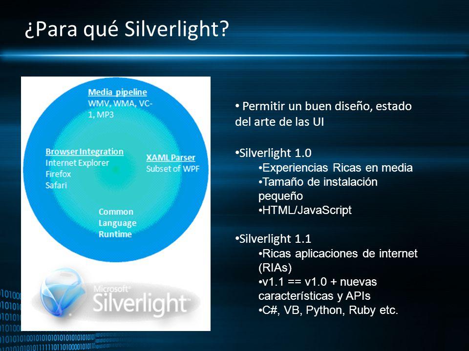 ¿Para qué Silverlight? Permitir un buen diseño, estado del arte de las UI Silverlight 1.0 Experiencias Ricas en media Tamaño de instalación pequeño HT