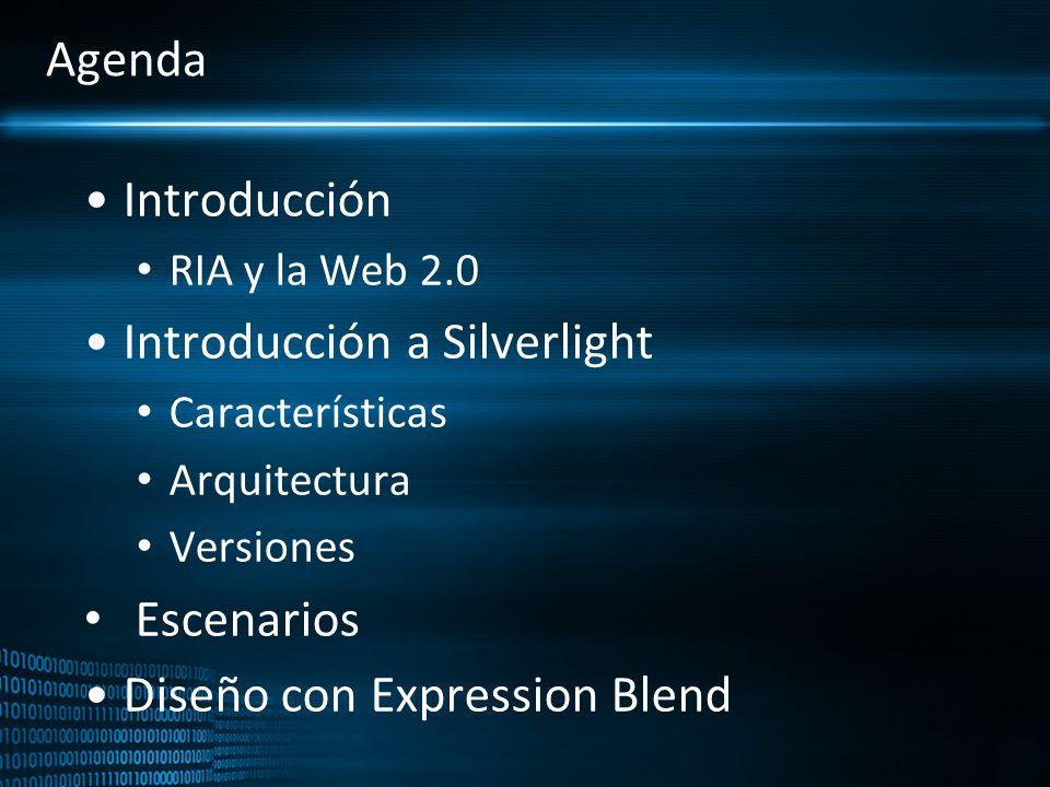 Agenda Introducción RIA y la Web 2.0 Introducción a Silverlight Características Arquitectura Versiones Escenarios Diseño con Expression Blend